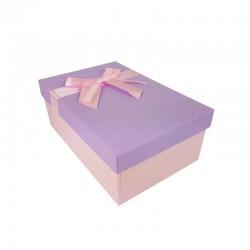 Boîte cadeaux de couleur rose clair et mauve 20x13.5x8cm - 11119m