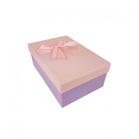 Boîte cadeaux bicolore mauve et rose 18.5x11.5x7cm - 11121p