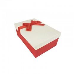 Boîte cadeaux bicolore rouge et blanc cassé 18.5x11.5x7cm - 11124p