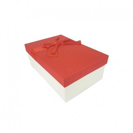 Boîte cadeaux blanc cassé et rouge avec nœud cadeaux 18.5x11.5x7cm - 11127p