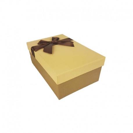 Boîte cadeaux bicolore marron café et beige 18.5x11.5x7cm - 11130p