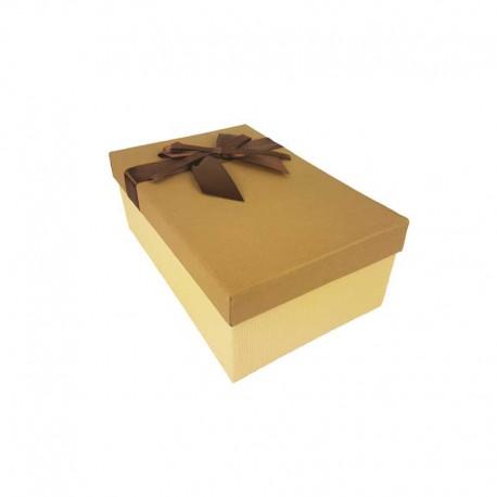 Boîte cadeaux bicolore de couleur beige et café 18.5x11.5x7cm - 11133p