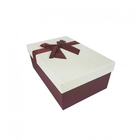 Boîte cadeaux bicolore rouge bordeaux et blanc cassé 18.5x11.5x7cm - 11136p
