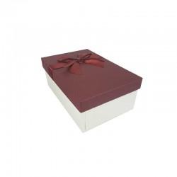 Boîte cadeaux blanc cassé et rouge bordeaux avec nœud ruban 18.5x11.5x7cm - 11139p