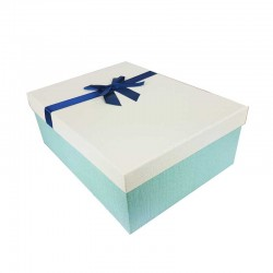 Grand coffret cadeaux bleu givré et écru avec noeud ruban bleu nuit 32.5x24.5x12cm - 11144g