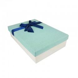 Coffret cadeaux bicolore écru et bleu clair ruban satiné bleu nuit 24.5x16x5.5cm - 11145p
