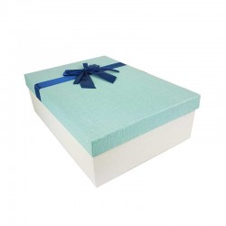 Coffret cadeaux de couleur écru et bleu clair ruban bleu nuit 28.5x20x9cm - 11146m
