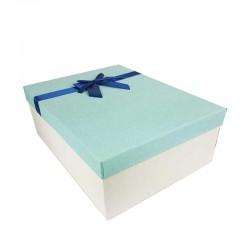 Grand coffret cadeaux écru et bleu clair avec noeud ruban satiné bleu nuit 32.5x24.5x12cm - 11147g