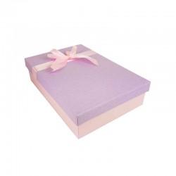 Coffret cadeaux bicolore rose et mauve ruban satiné rose 24.5x16x5.5cm - 11151p