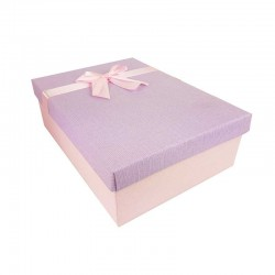 Coffret cadeaux de couleur rose clair et mauve ruban satiné 28.5x20x9cm - 11152m