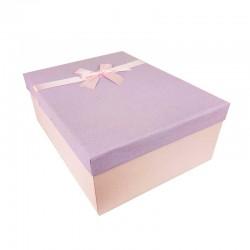 Grand coffret cadeaux rose et mauve avec noeud ruban rose 32.5x24.5x12cm - 11153g