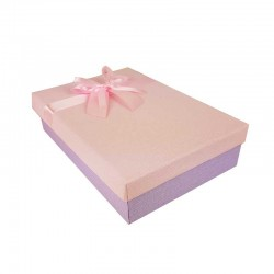 Coffret cadeaux bicolore mauve et rose ruban rose clair 24.5x16x5.5cm - 11148p
