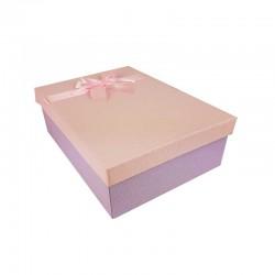Coffret cadeaux de couleur mauve et rose ruban rose clair 28.5x20x9cm - 11149m
