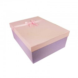 Grand coffret cadeaux mauve et rose avec noeud ruban satiné rose 32.5x24.5x12cm - 11150g