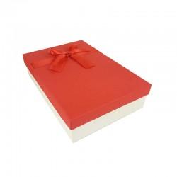 Coffret cadeaux bicolore blanc cassé et rouge ruban rouge satiné 24.5x16x5.5cm - 11157p