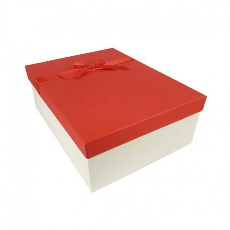 Coffret cadeaux de couleur blanc cassé et rouge ruban satiné 28.5x20x9cm - 11158m
