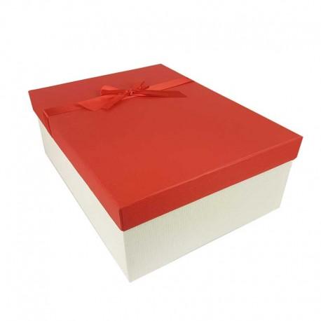 Grand coffret cadeaux blanc cassé et rouge avec noeud ruban satiné 32.5x24.5x12cm - 11159g