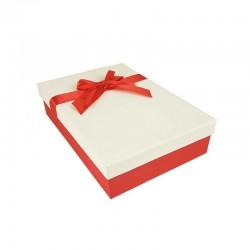 Coffret cadeaux bicolore rouge et blanc cassé ruban satiné 24.5x16x5.5cm - 11154p