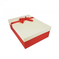 Coffret cadeaux de couleur rouge et blanc cassé ruban rouge 28.5x20x9cm - 11155m