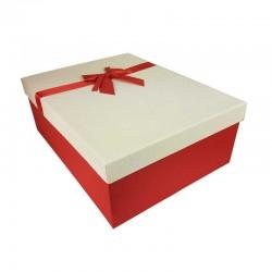 Grand coffret cadeaux rouge et blanc cassé avec noeud ruban rouge 32.5x24.5x12cm - 11156g