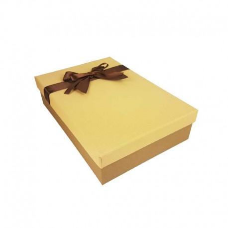 Coffret cadeaux bicolore marron café et beige savane ruban marron 24.5x16x5.5cm - 11160p