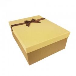 Grand coffret cadeaux arron café et beige savane avec noeud ruban marron 32.5x24.5x12cm - 11162g
