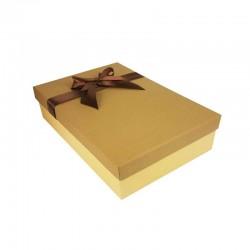 Coffret cadeaux bicolore beige et marron café ruban satiné marron 24.5x16x5.5cm - 11163p
