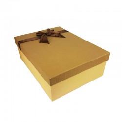 Coffret cadeaux de couleur beige et marron café ruban satiné 28.5x20x9cm - 11164m