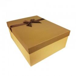 Grand coffret cadeaux beige et marron café avec noeud ruban satiné 32.5x24.5x12cm - 11165g