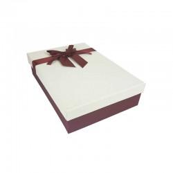 Coffret cadeaux bicolore rouge bordeaux et blanc cassé ruban satiné 24.5x16x5.5cm - 11166p