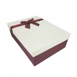 Coffret cadeaux de couleur rouge bordeaux et blanc cassé ruban rouge 28.5x20x9cm - 11167m