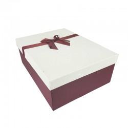 Grand coffret cadeaux rouge bordeaux et blanc cassé avec noeud ruban rouge 32.5x24.5x12cm - 11168g