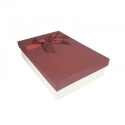 Coffret cadeaux bicolore blanc cassé et rouge bordeaux ruban rouge satiné 24.5x16x5.5cm - 11169p