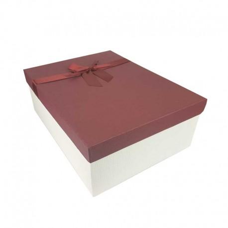 Grand coffret cadeaux blanc cassé et rouge bordeaux avec noeud ruban satiné 32.5x24.5x12cm - 11171g
