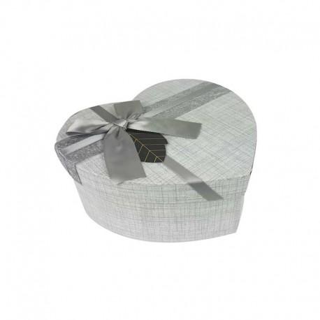 Petite boîte cadeaux en forme de coeur couleur gris perle 13x15x6cm - 11172p