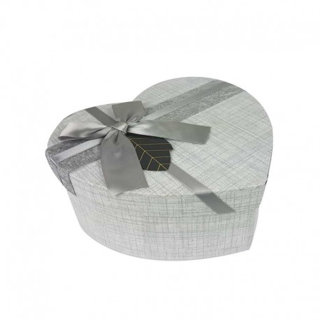 Boîte cadeaux en forme de coeur couleur gris perle 15x18x7.5cm - 11173m
