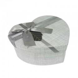 Grande boîte cadeaux en forme de coeur couleur gris perle 18x21x9cm - 11174g