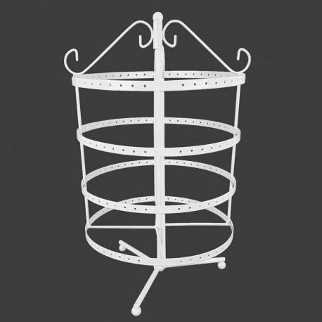 Porte bijoux tournant en métal blanc 96 paires de boucles d'oreilles - 11176