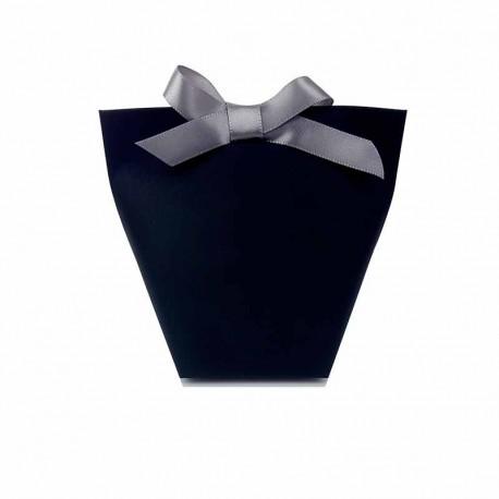12 petites boîtes cadeaux à plier en papier kraft noir 11.5x10x6cm - 11178