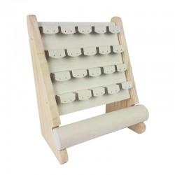 Support bijoux en bois et suédine beige pour boucles d'oreilles + 1 rouleau pour bracelets - 11179