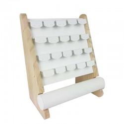 Support bijoux en bois et simili cuir blanc pour boucles d'oreilles + 1 rouleau pour bracelets - 11182