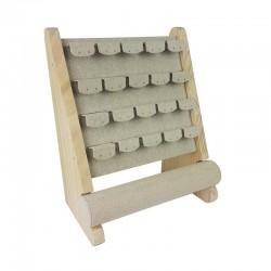 Support bijoux en bois et coton beige pour boucles d'oreilles + 1 rouleau pour bracelets - 11181