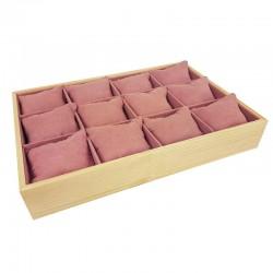 Présentoir à coussins pour montres en bois et suédine rose