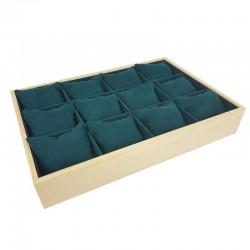 Présentoir à coussins pour montres en bois et suédine vert émeraude