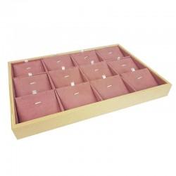 Plateau de présentation en bois et suédine rose 12 chaînes et pendentifs