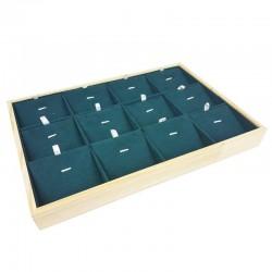 Plateau de présentation en bois et suédine vert émeraude 12 chaînes et pendentifs