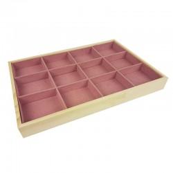 Plateau bijoux en bois et tissu aspect suédine rose à casiers