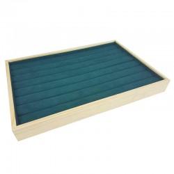 Plateau pour bagues en bois et tissu aspect suédine vert émeraude