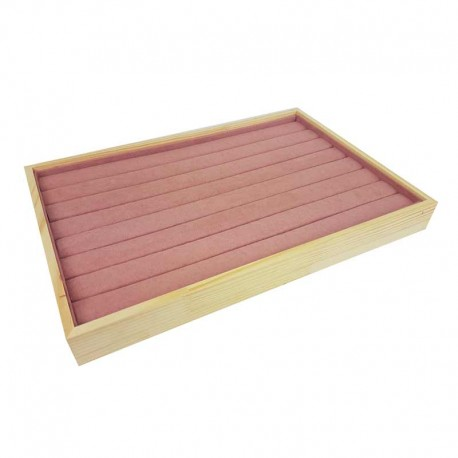 Plateau pour bagues en bois et tissu aspect suédine rose