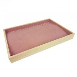 Plateau pour chaînes et colliers en bois et tissu aspect suédine rose